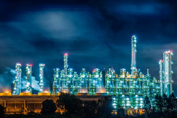 Refinery plant at night