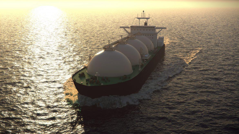 Gas tanker floating in the ocean
