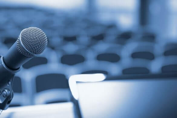 podium speaker microphone state of energy